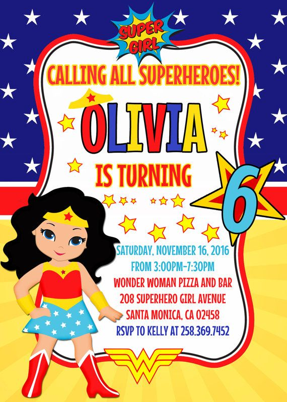 Wonder Woman Birthday Invitation Clipart