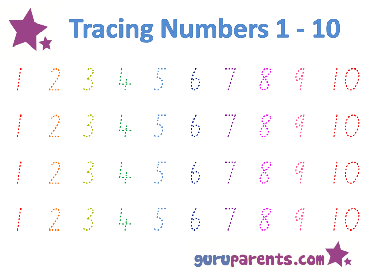 Tracing Numbers 1-10 Worksheet | teaching :: sensory spelling ...