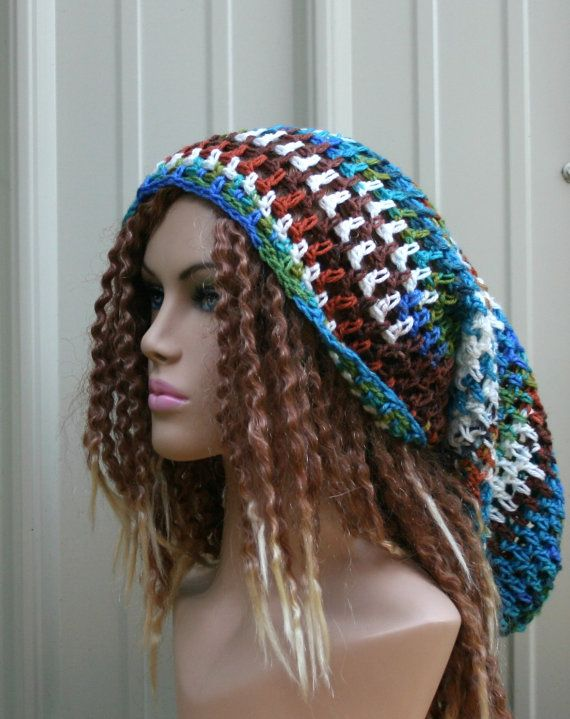 Very long Dread Tam Slouchy Beanie Hippie by PurpleSageDesignz ...