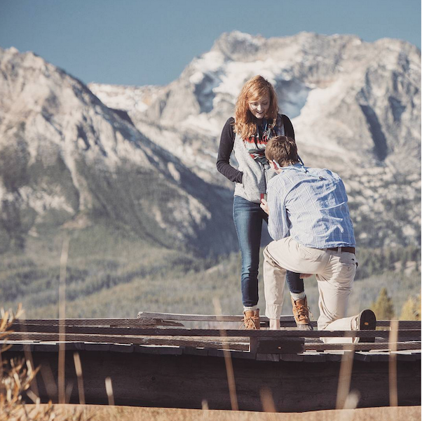 Okay, this is just about the cutest reaction to a marriage proposal you'll see all day. And that location is so gorgeous!