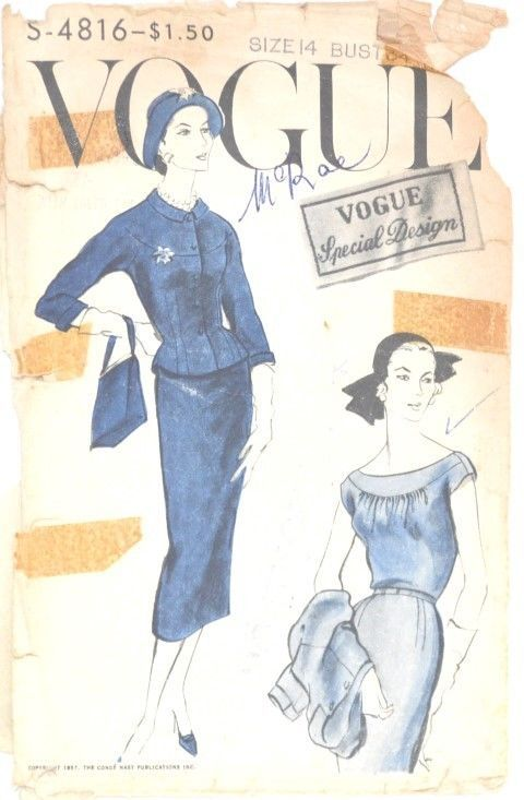 Vintage 1957 Vogue Special Design dress & jacket pattern S - 4816