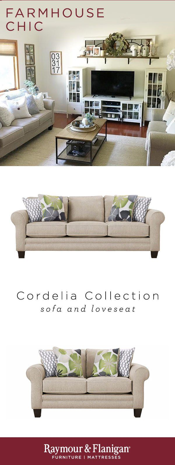 With Its Blend Of Contemporary Colors And Traditional Decorative Accents The Cordelia Farm House Living Room Modern Farmhouse Living Room Living Room Designs [ 1593 x 600 Pixel ]