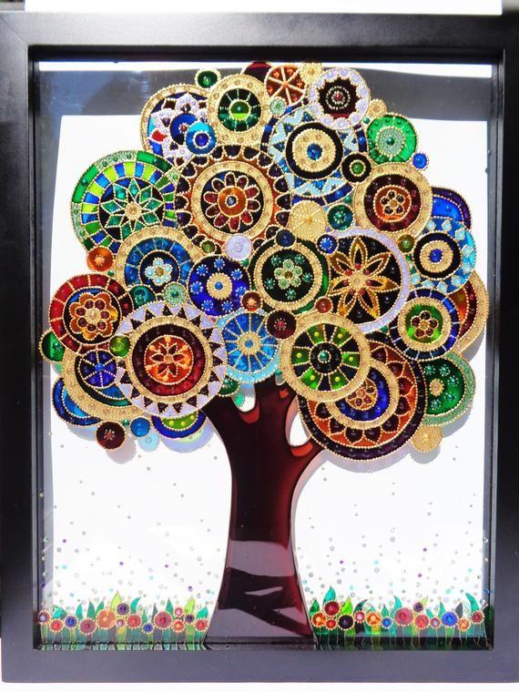 Tree of life art 15×12 Bohemian decor Wall decor Glass painting Doodle art