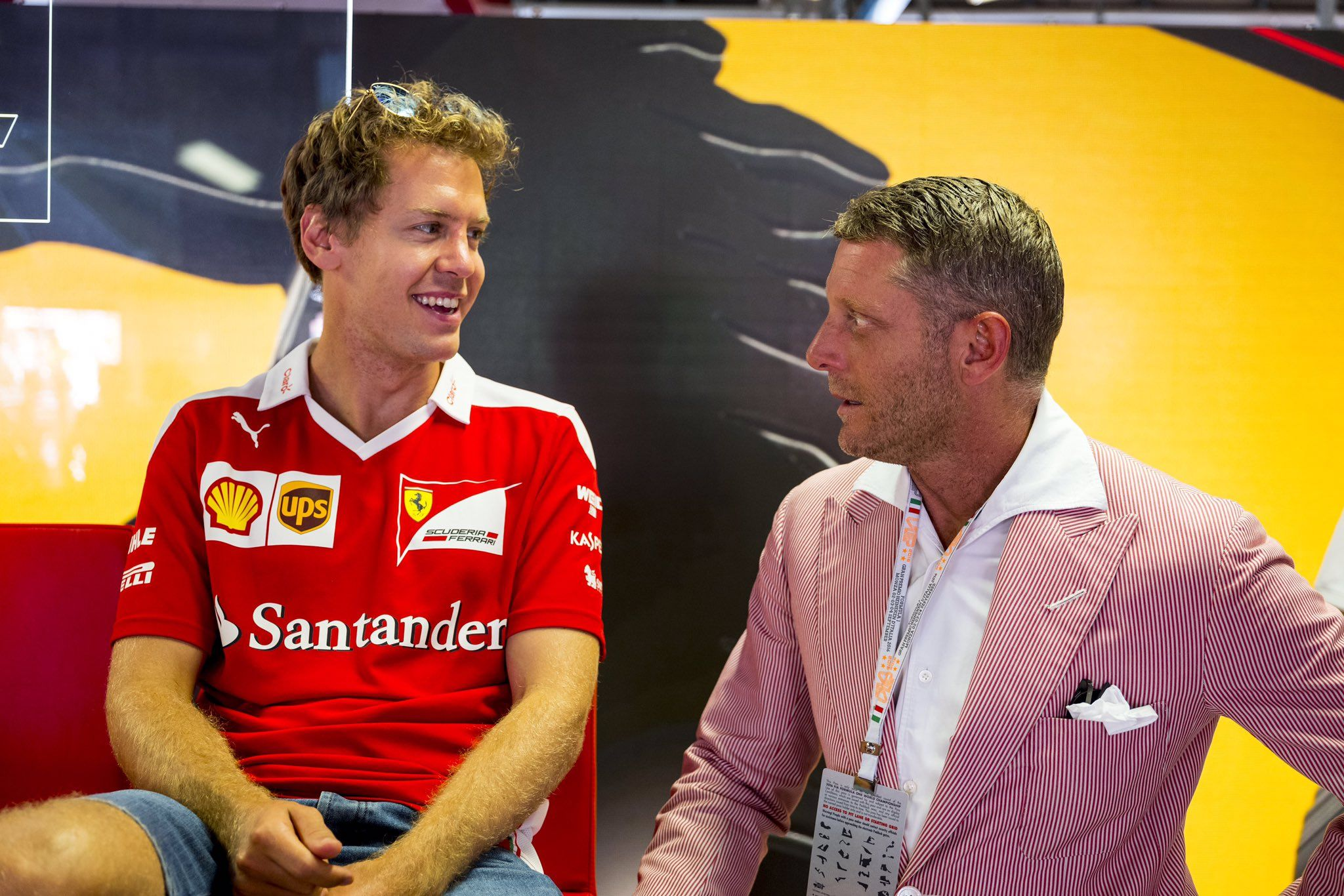 "Scuderia Ferrari on Twitter: ""@LapoElkann_LE with #Seb5 in the garage #ItalianGP #redseason https://t.co/tnng2lI516"""
