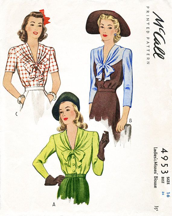 1940s 40s blouse vintage sewing pattern 3 styles bow collar bust 34 ...