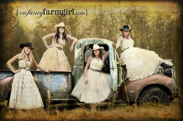 Fancy Farm Girls In Vintage Prom Dresses And Cowboy Boots
