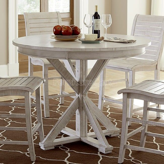 Willow Round Counter Height Table Distressed White In 2019