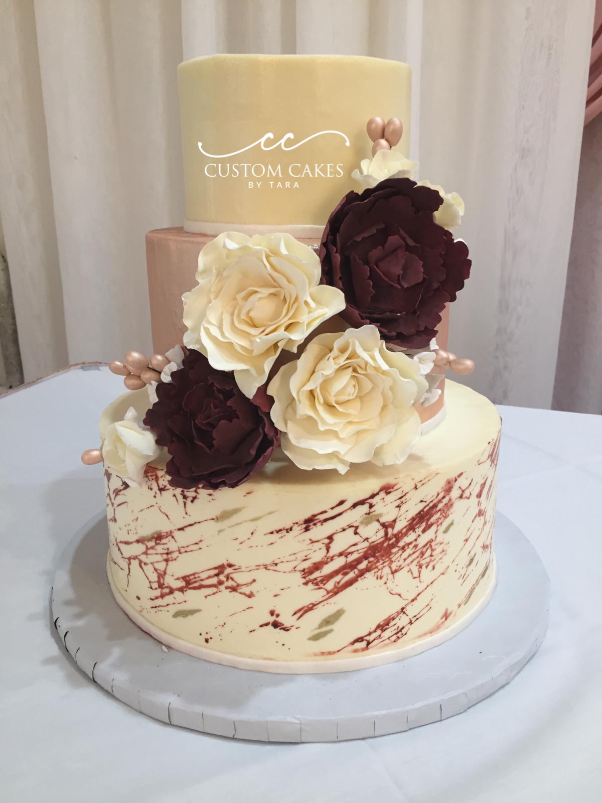 Burgundy And Rose Gold Wedding Cake Cake Custom Cakes Wedding Cakes