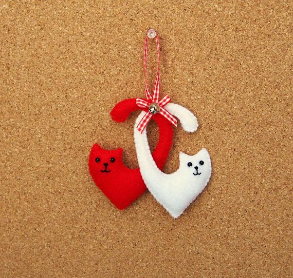 Felt cats in love with jingle bell, red gingham bow and hanger Hand