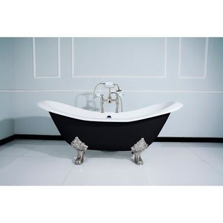 Photo of Black 72-in Cast Iron Slipper Clawfoot Tub with Faucet Drillings (Black / Brushed Nickel), Kingston Brass