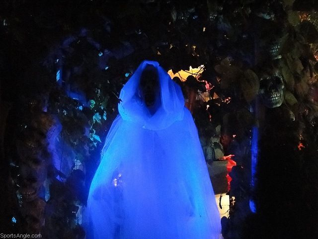 rio posted white tulle ghost costume under black light to their halloween time postboard via the juxtapost bookmarklet