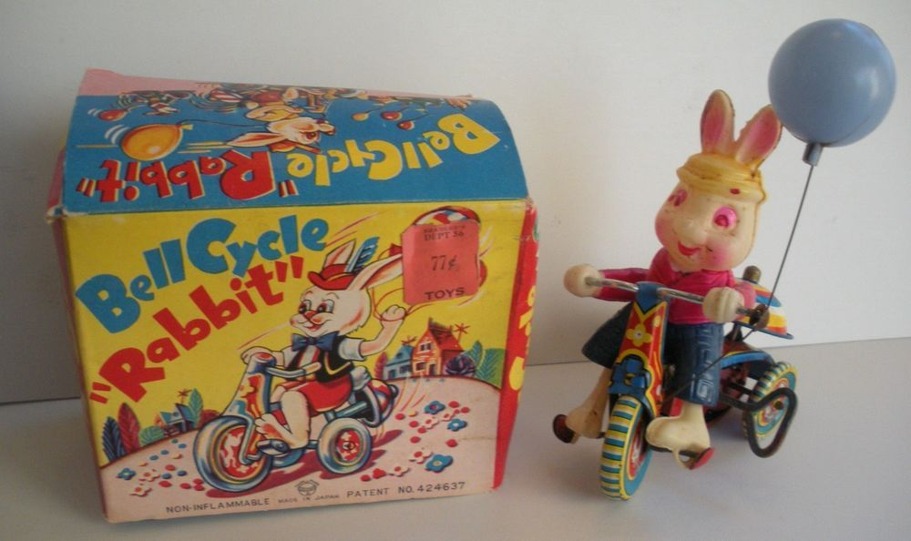 Vintage Celluloid Bell Cycle Rabbit Bunny Tricycle Wind Up Tin Toy Japan in Box