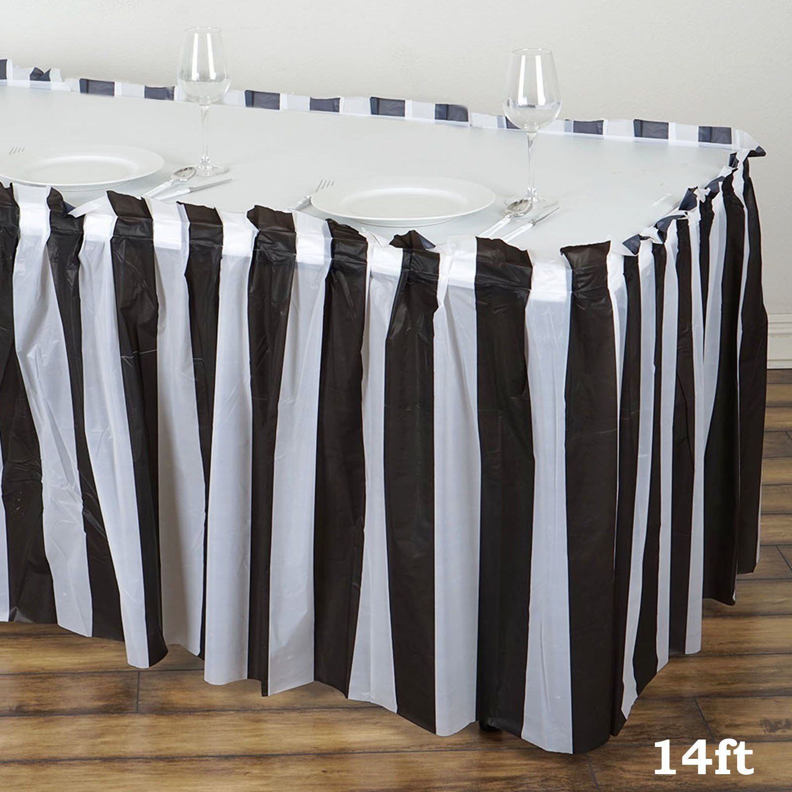14ft 10 Mil Thick Stripe Plastic Table Skirts Disposable Table Skirt Spill Proof White Black Table Skirt White Plastic Table Plastic Tables