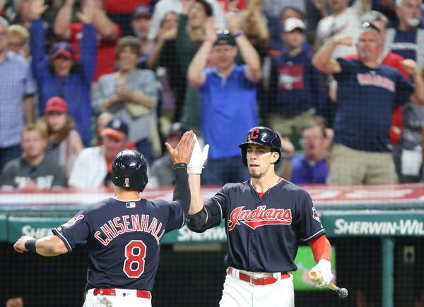 Cleveland Indians Bradley Zimmer  congratulates Lonnie Chisenhall after he scored on a double by Carlos Santana in the 8th inning, July 8, 2017, at Progressive Field. Indians won 4-0