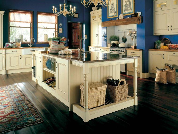 paredes azules y muebles blancos en la cocina | Cocinas en azul ...