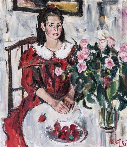 Porträt eines Mädchens mit rotem Kleid by Yuri Kalyuta