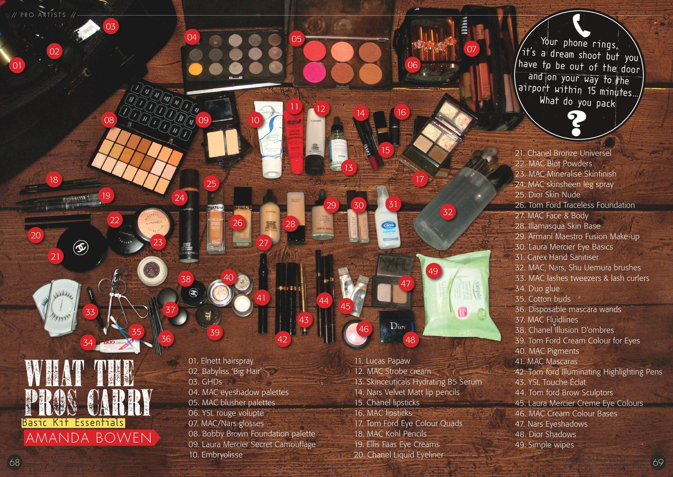 Pro Makeup Artist Amanda Bowen's cosmetic bag Makeup