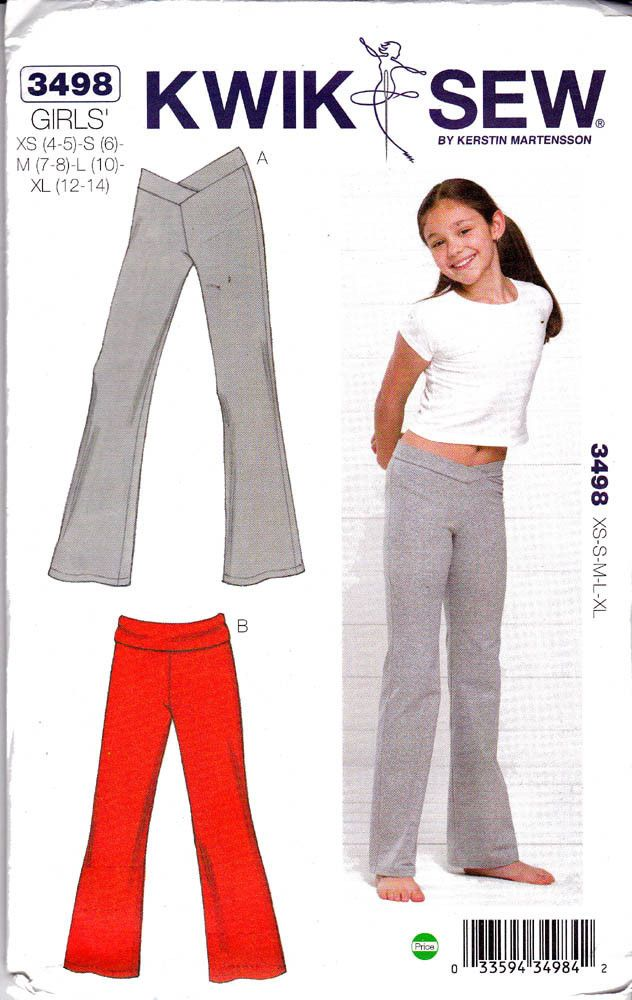 Girls Stretch Yoga Dance Pants Sewing Pattern Kwik Sew 3498 Size 4 5 ...