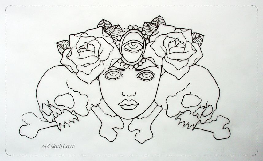 tattoo design OUTLINE by oldSkullLovebyMW.deviantart.com on @deviantART