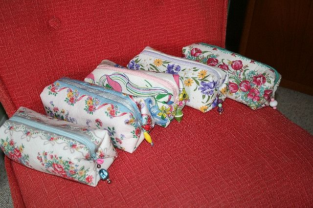 vintage handkerchiefs made into cosmetic bags