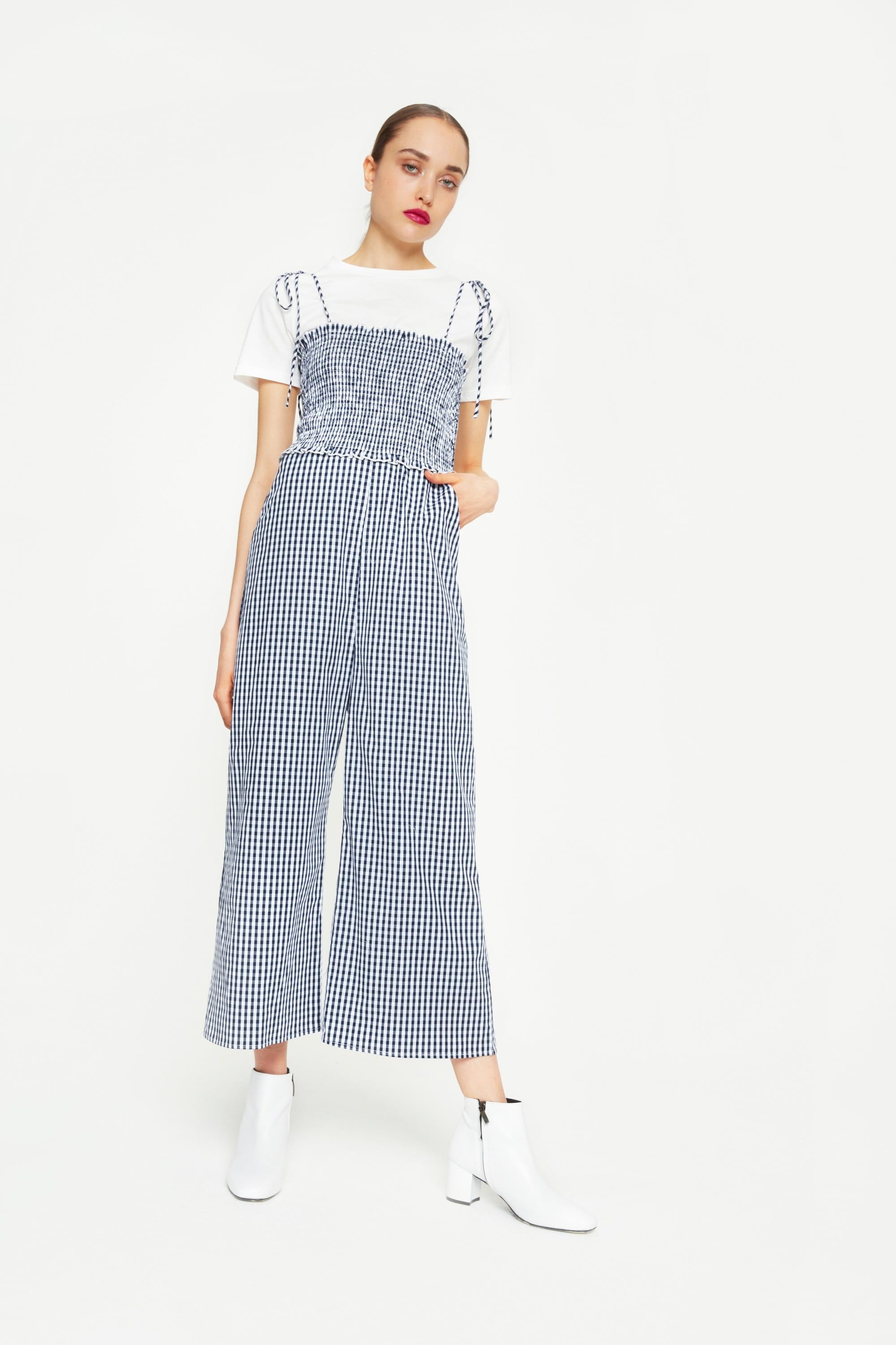 0818bd6b4a8b English Factory Gingham Jumpsuit With T-Shirt Underlay | Like the ...