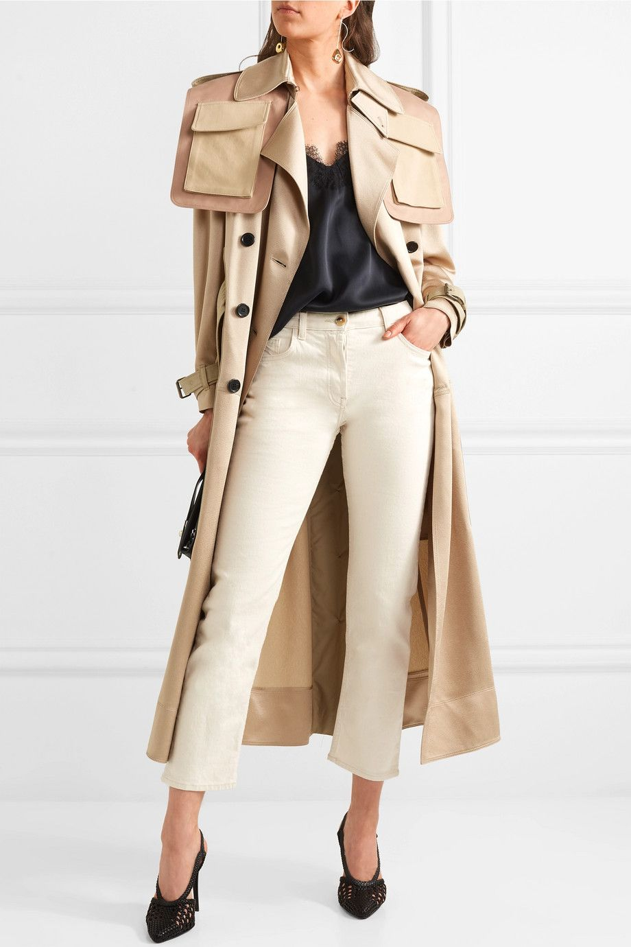 8e8b9db0e65 Valentino | Oversized patchwork hammered-satin trench coat |  NET-A-PORTER.COM