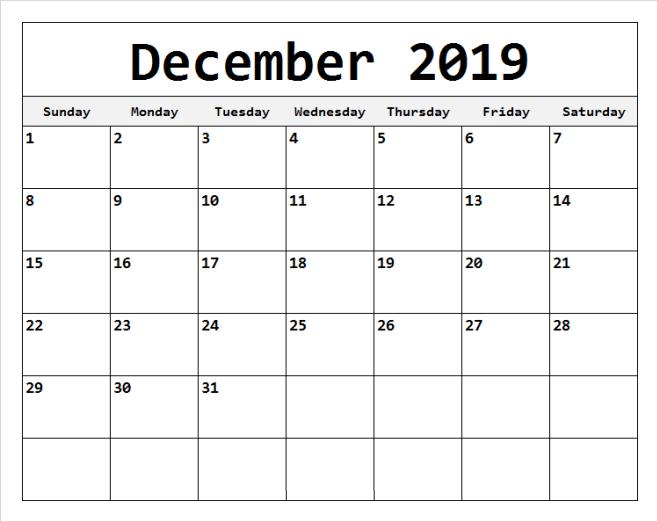 Editable December Calendar 2019 Printable Calendar 2019 Template December Calendar Editable Calendar