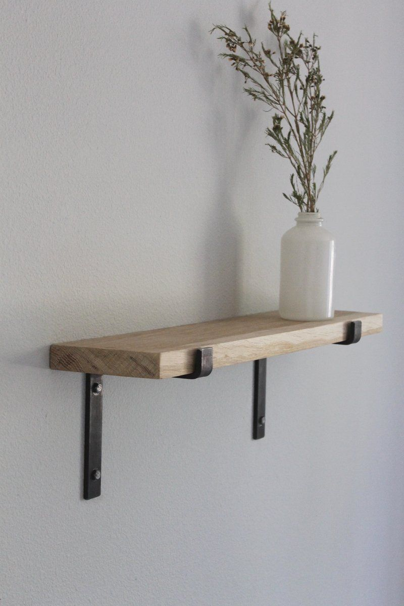 Salvaged Oak Shelves With Metal Brackets Reclaimed Wood Shelves Wood Shelves Wooden Shelves