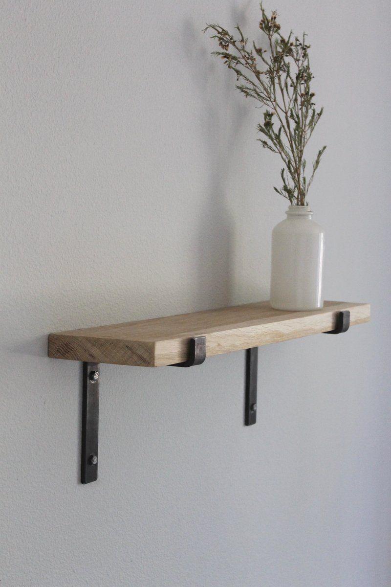 Oak Shelves With Metal Brackets