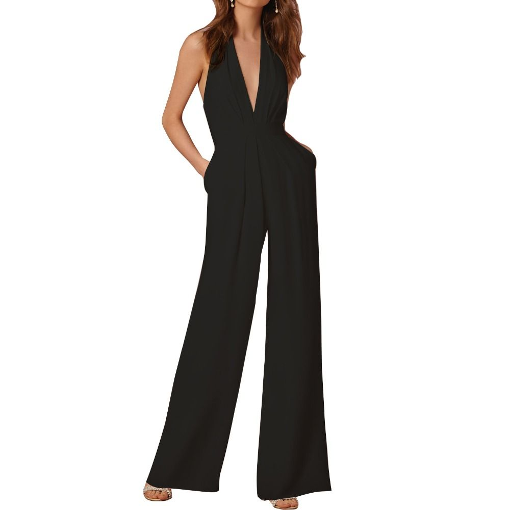 White and Black Romper Summer Sexy Women Jumpsuit Sleeveless Trousers Long Pants Overall Wide Leg Lady Jumpsuit High Waist Halte #Affiliate