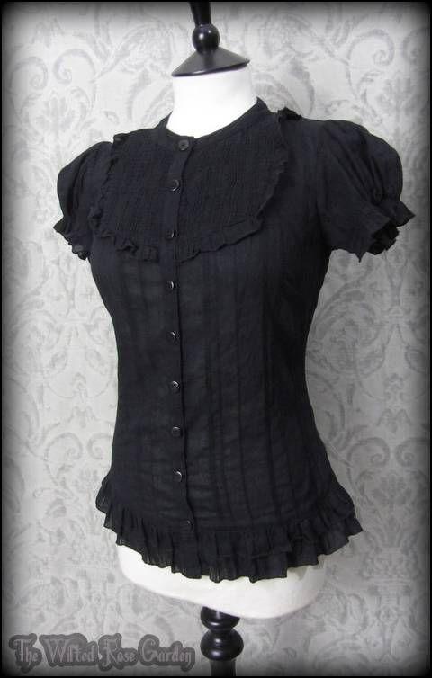 Black Frilly Bib Puff Shoulder Top 10 Romantic Goth Steampunk Victorian Doll  | eBay #victoriandolls