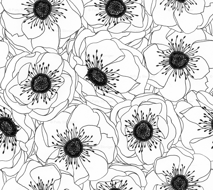 Colorful Fabrics Digitally Printed By Spoonflower White Anemones
