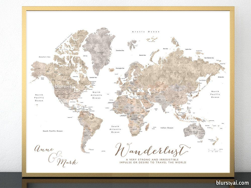 Personalized printable world map with countries and states labelled personalized printable world map with countries and states labelled in neutral watercolor gumiabroncs Gallery