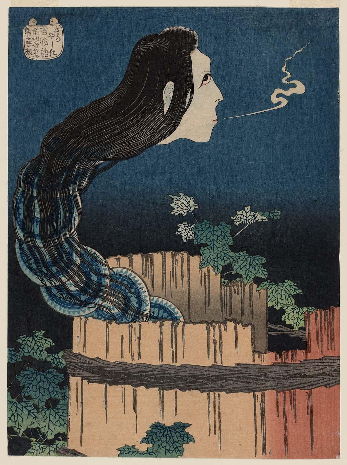Hokusai - The Mansion of the Plates (Sara yashiki), from the series One Hundred Ghost Stories (Hyaku monogatari) | Museum of Fine Arts, Boston