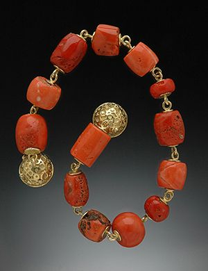 Hughes Bosca Designs | Necklace; Ancient Coral with 18K gold links and magnetic ball catch with white Diamonds. | {Price not published, please contact seller}