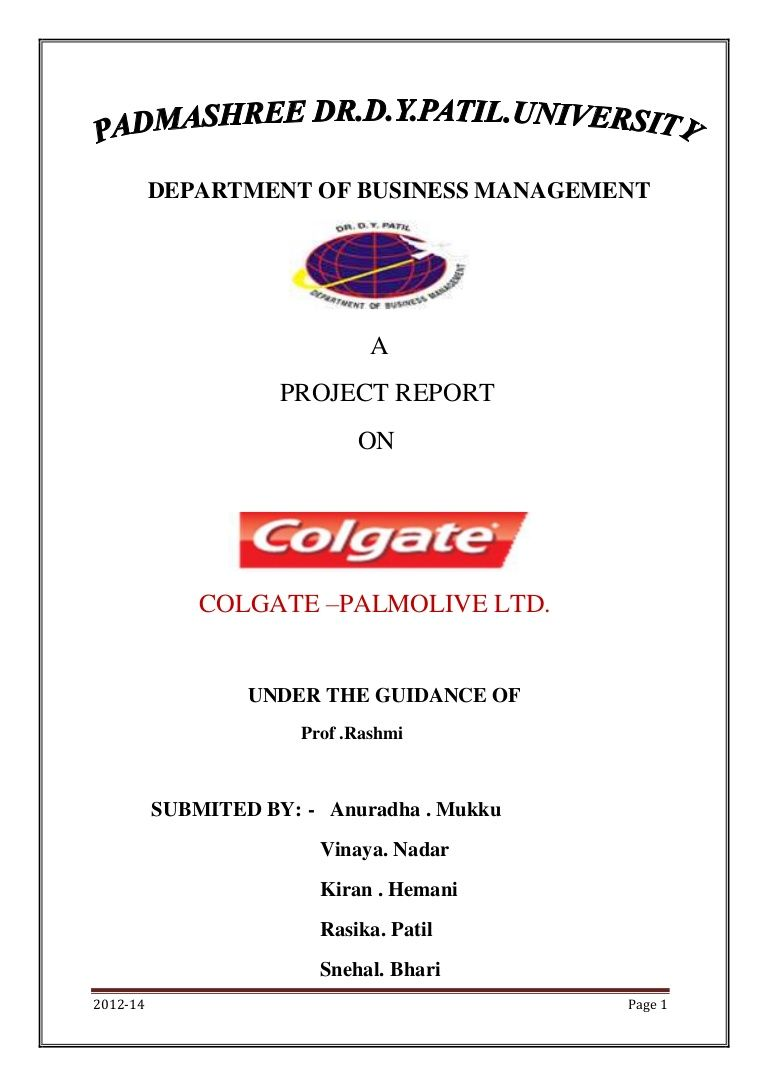 Department of business management a project report on