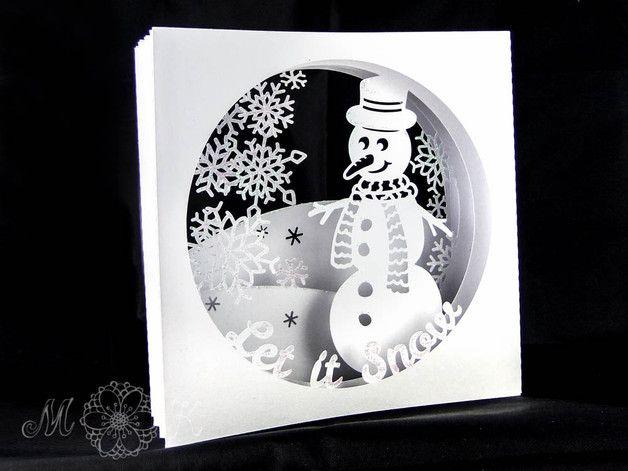Digitale Downloads - Plotterdatei Tunnelkarte Let it Snow - ein Designerstück von MiriamKreativ bei DaWanda