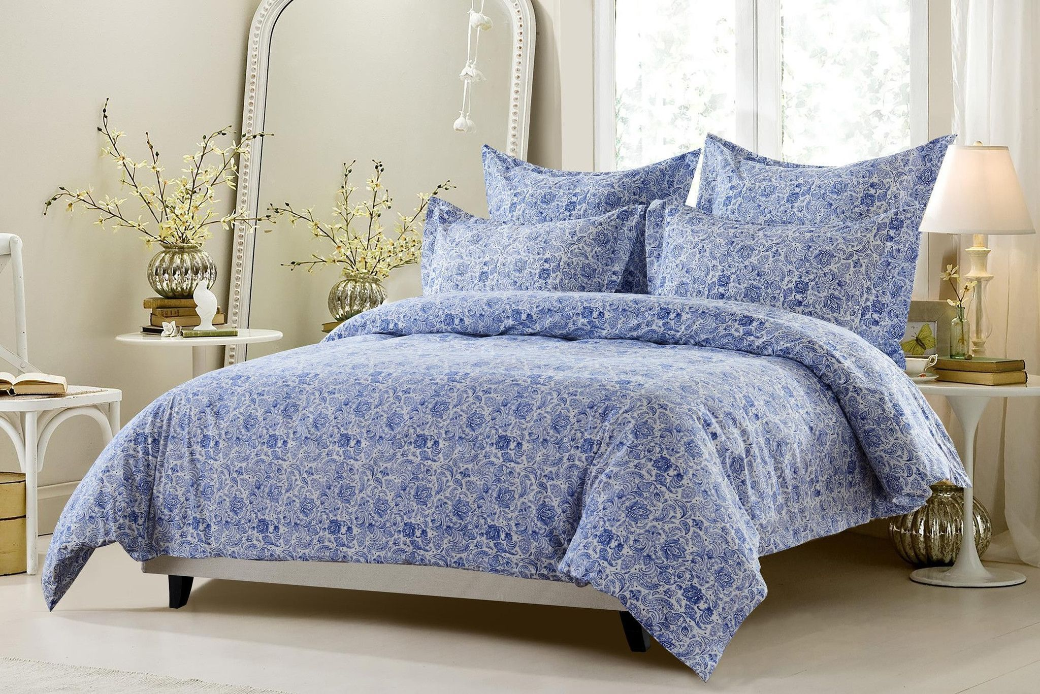 6Pc King Navy White Paisley Bedding Set Includes Comforter And Duvet