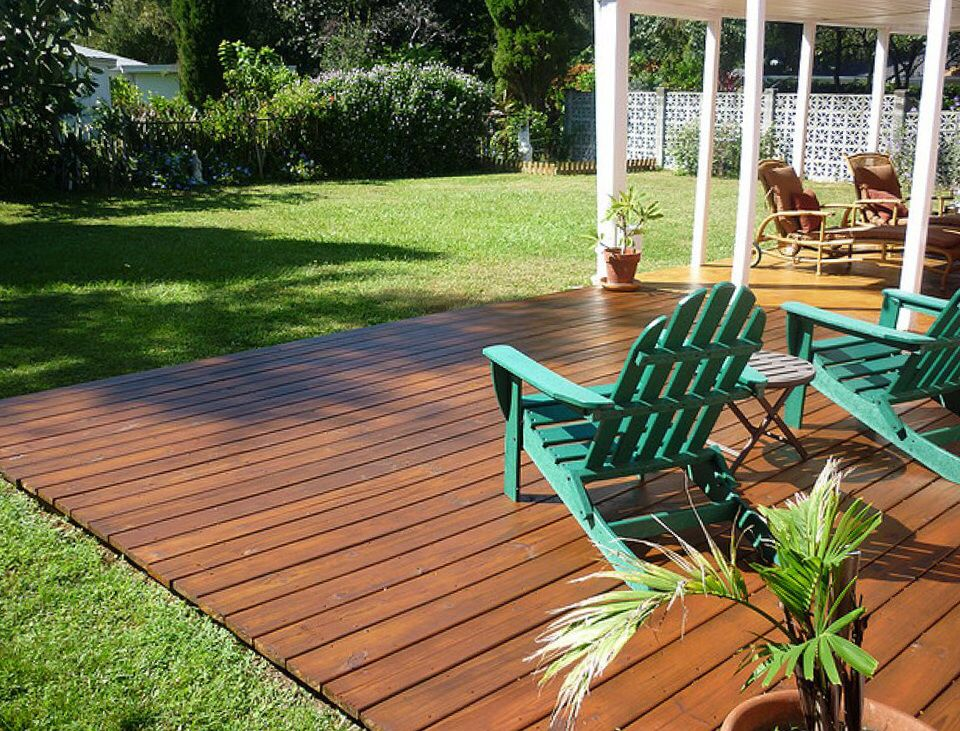 Flush ground level deck decks pinterest decking for Wood deck designs free