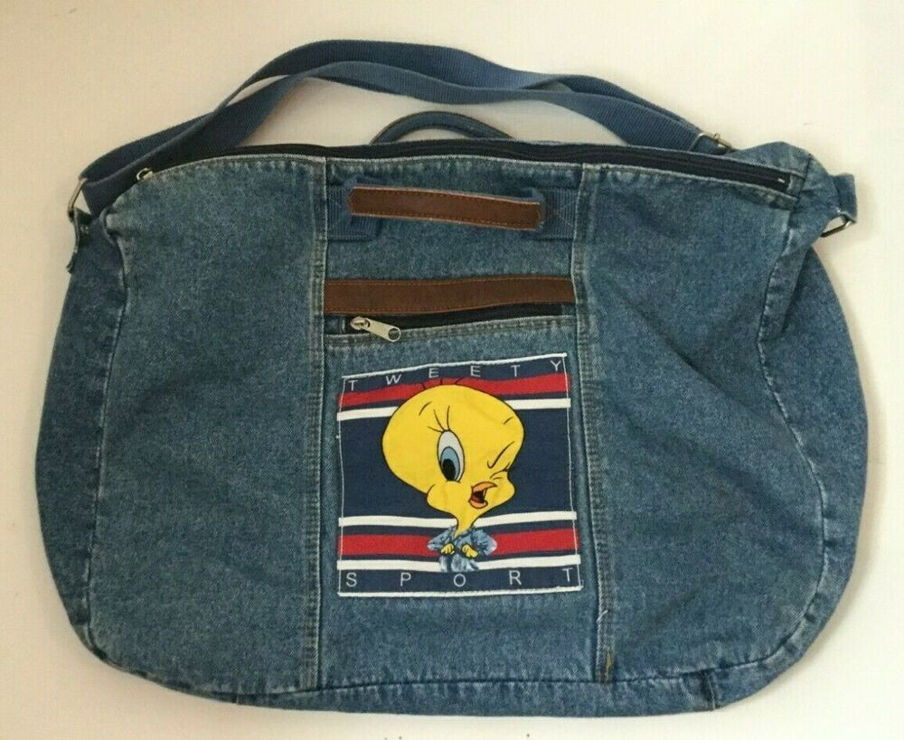 Tweety Bird Flag Denim Tote Bag Oversize Faux Leather Trim