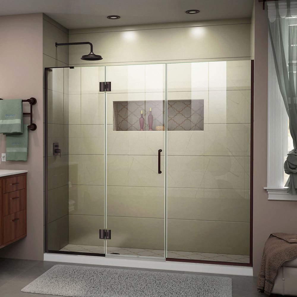 Unidoor X 63 1 2 64 Inch W X 72 Inch H Frameless Hinged Shower Door In Oil Rubbed Bronze Frameless Shower Doors Shower Doors Frameless Shower