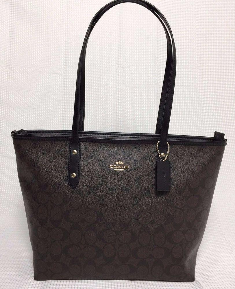 1065e7ac4fdd New Coach Signature PVC City Zip Tote Handbag Purse Shoulder Bag Brown Black   Coach  TotesShoppers