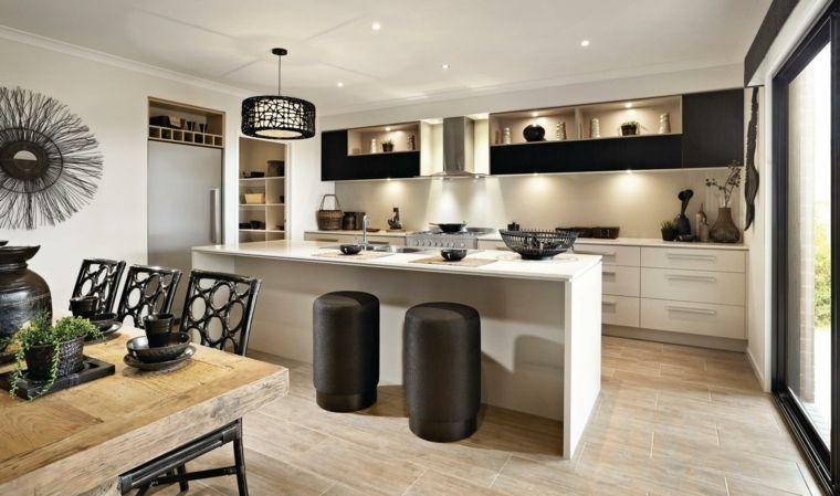 arredamento bianco e nero per cucine moderne con una grande ...