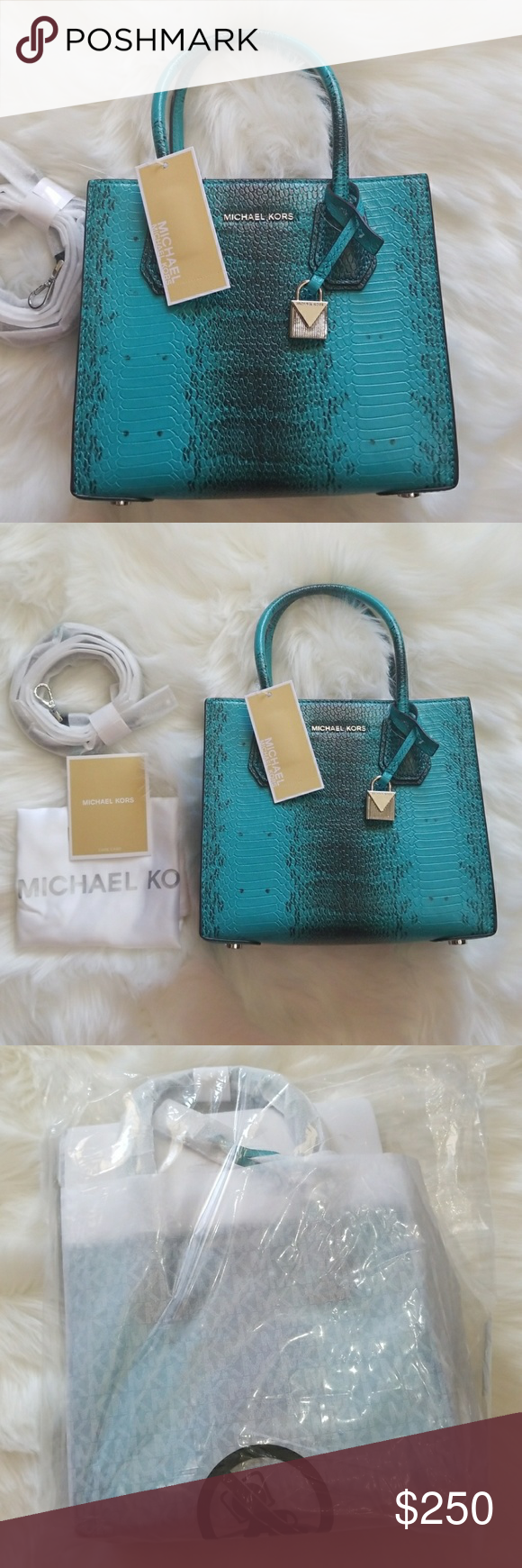 82786dbdc247 NWT Michael Kors Tile Blue Teal Mercer Crossbody AUTHENTIC Medium