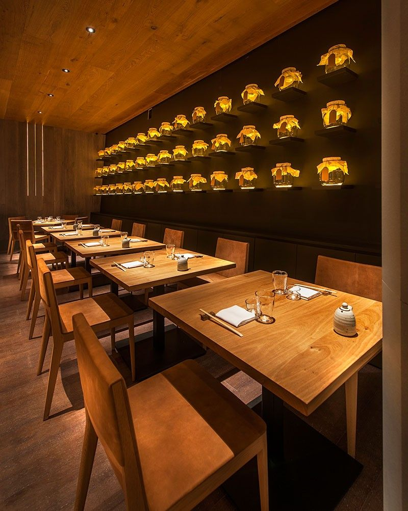 Design Detail  A Wall Of Uplit Glass Jars//The recently completed Aldwych  location  Japanese Restaurant InteriorRestaurant ...