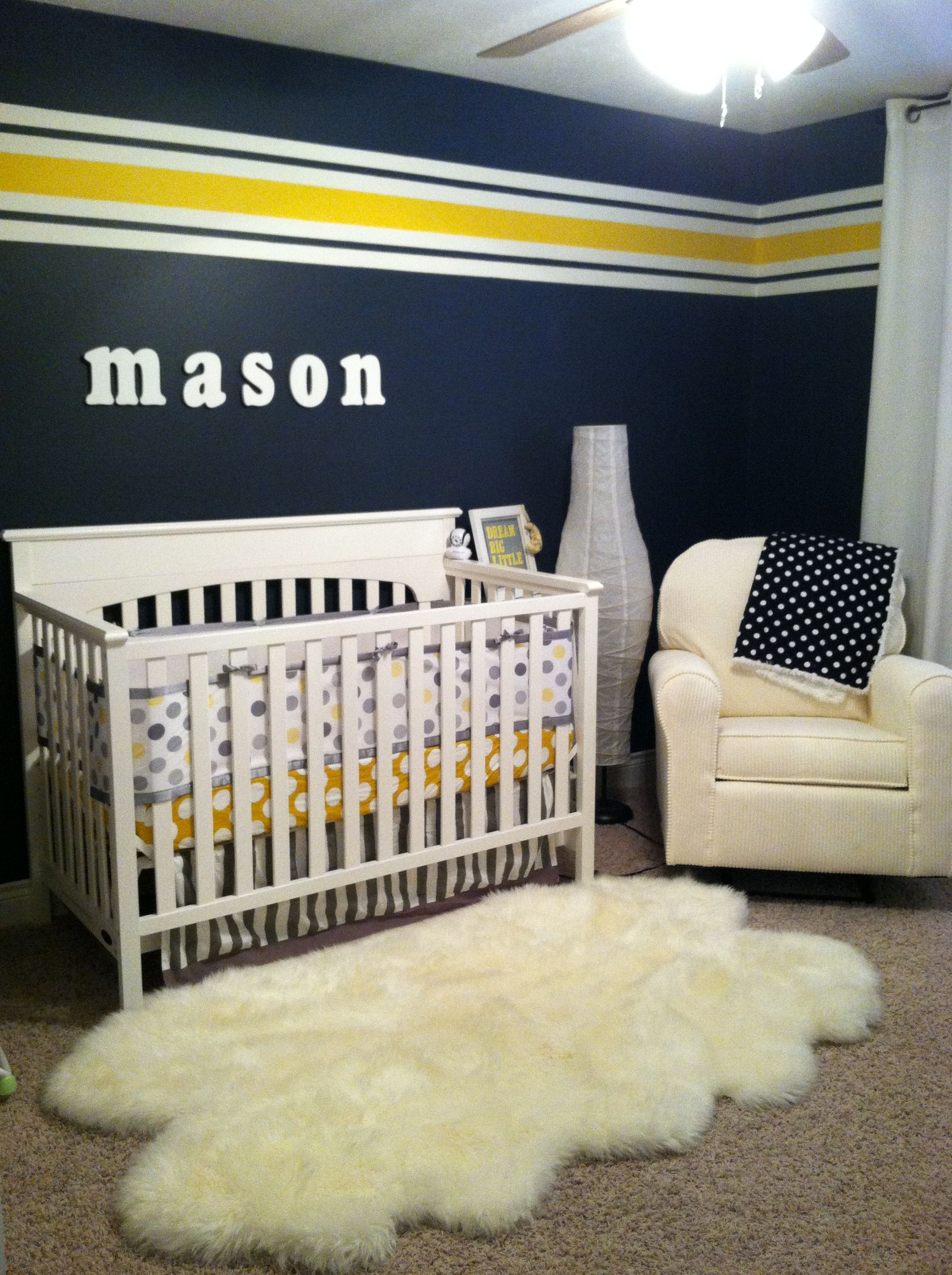 Mason S Navy Yellow Grey And White Nursery