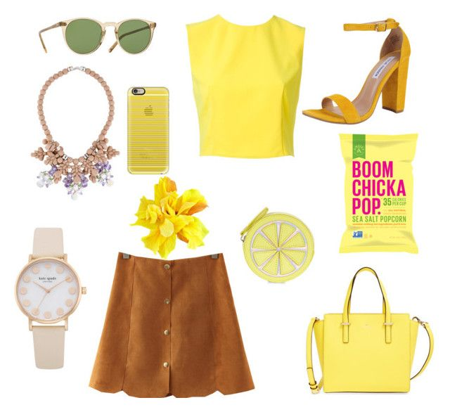 """""""Mellow Yellow"""" by lneubs on Polyvore featuring Oliver Peoples, Kate Spade, Steve Madden, Alice + Olivia, Ek Thongprasert, Casetify and Accessorize"""
