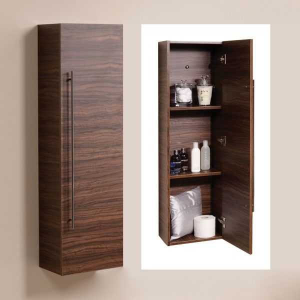 Storage Units Bathroom: Aspen 120cm Walnut Wall Mounted Storage Unit
