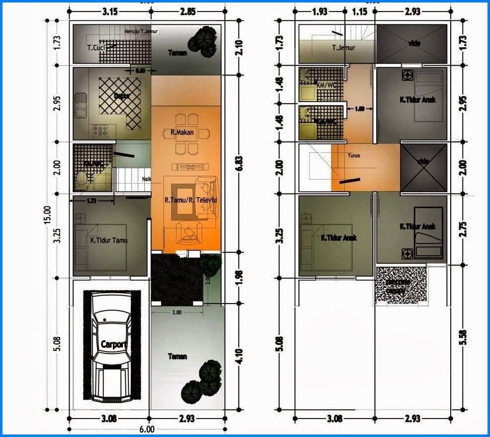 Denah Rumah Type 45 2 Lantai Proyek Untuk Dicoba Di 2019 Rumah