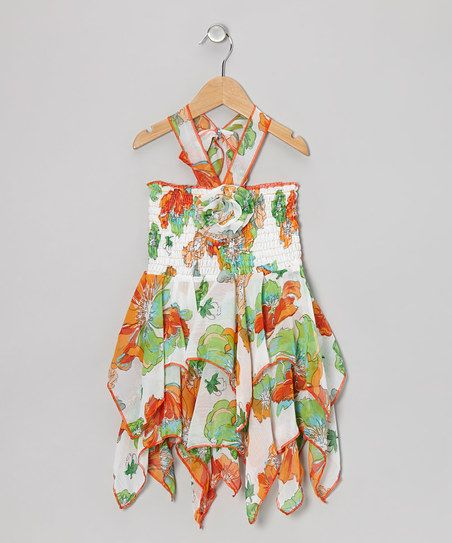 Green & Orange Hawaiian Handkerchief Dress